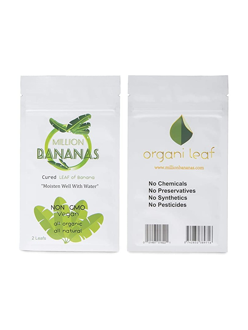Million bananas rolling paper packaging frontside and backside by Organileaf